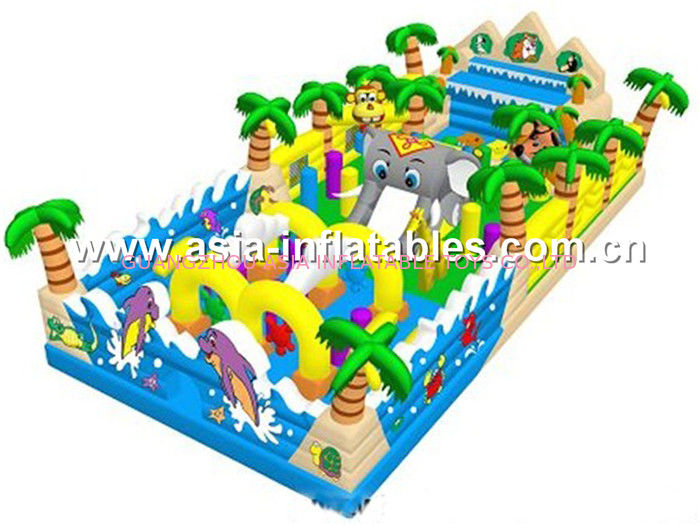 Inflatable Funland With Palm Tree And Palace Shape For Chilren Bouncing Park Games